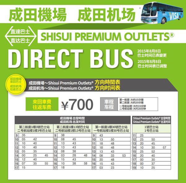 成田機場酒酒井outlet交通巴士時刻表