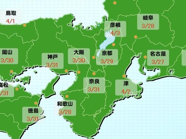 2017京都櫻花前線情報預測(3/9更新),京都櫻花季開花滿開時間