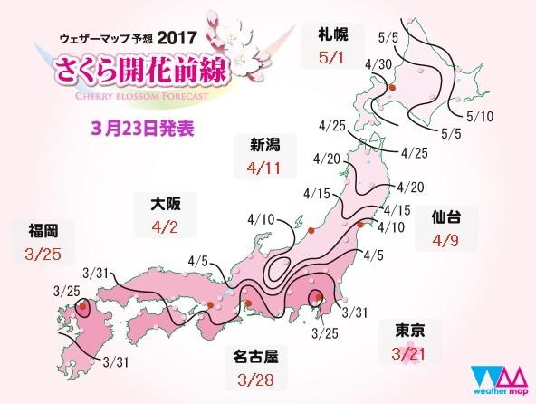 2017日本櫻花前線開花滿開預測